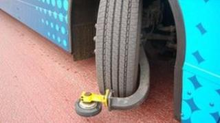 Guided bus wheel