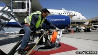 A plane refuelling