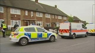 Police at murder scene