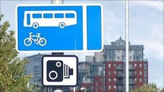 Bus lane camera sign