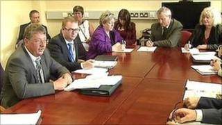 Sammy Wilson hosted the meeting over the economy
