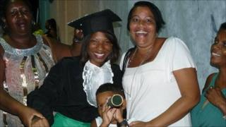 Barbara with her aunt on her graduation day