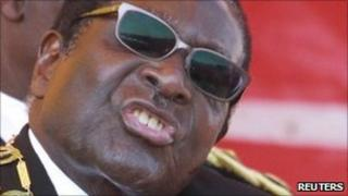 Zimbabwe's President Robert Mugabe addresses supporters at a Heroes Day rally in the capital, Harare, on 8 August 2011