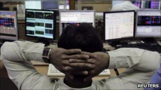Indian stock broker in Mumbai on 8 August 2011