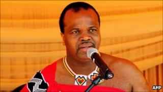 Swaziland's King Mswati III speaks during an Aids campaign 15 July 2011