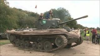 The 1943 Mark 9 DD Valentine tank arriving into Burton upon Stather