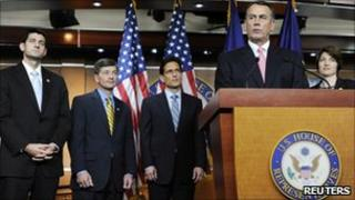 House Speaker John Boehner, front at right, and House Republicans