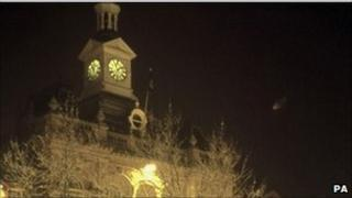Photo of Retford town hall with unidentified object above