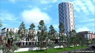 Artist drawing of new student accommodation in Leicester