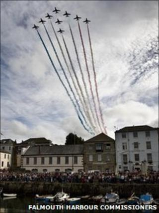 The Red Arrows (pic: Falmouth Harbour Commissioners)
