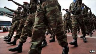 Soldiers from Ivory Coast's army, the Republican Forces of Ivory Coast (file image)
