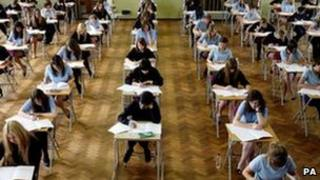 Students in an exam hall