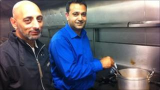 Faz Rehman (r) and one of his chefs