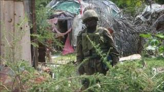 An African Union soldier in a former stronghold of al-Shabab in Mogadishu on Thursday 11 August 2011