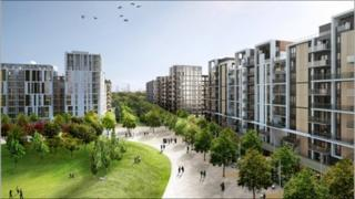An artists' impression of how the Athletes' Village will look after landscaping