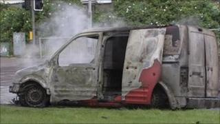 The van was completely destroyed in the attack