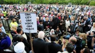 Peace rally in Winson Green, Birmingham