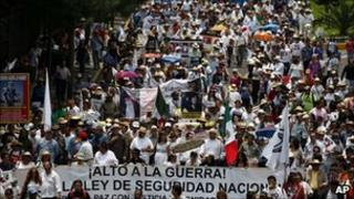 Demonstrators marching against violence in Mexico City