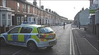 scene of assault in Wallbrook Road in Derby