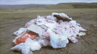 Asbestos bags dumped on the common