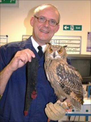Vet Neil Forbes and Lydon the Owl