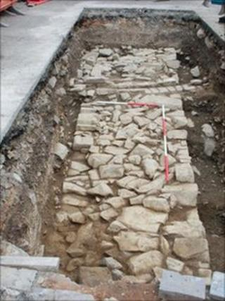 A section of wall discovered in the grounds of the Maenan Abbey Hotel (this is possibly part of the range of principal buildings that lay alongside the cloister, which included the refectory)