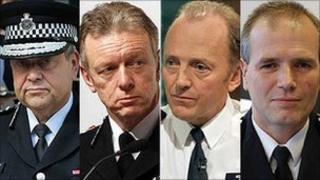 L-R: Tim Godwin, Bernard Hogan-Howe, Sir Hugh Orde, Stephen House