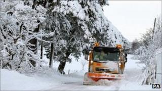 Heavy snow near Denny, Falkirk