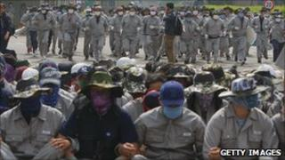 Striking workers at a factory in Korea