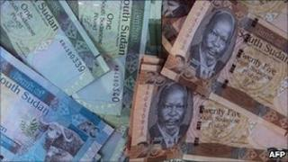 Notes of South Sudan's new currency, the pound