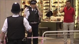 Police officers at the scene of Oxford Street stabbing