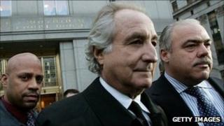 Bernard Madoff walks out from court in Manhattan in January 2009