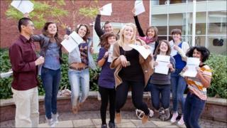 Students at Yale College in Wrexham celebrate their results