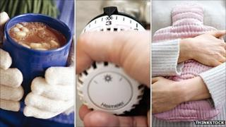 Girl holding hot chocolate, temperature control and girl hugging hot water bottle