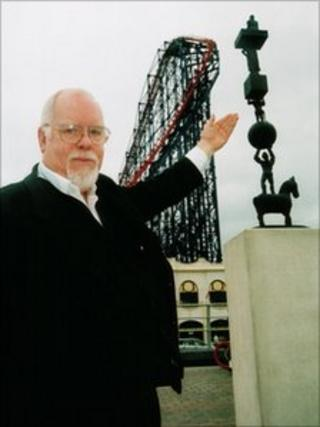"Sir Peter Blake with his ""Life as a Circus"" artwork in Blackpool"