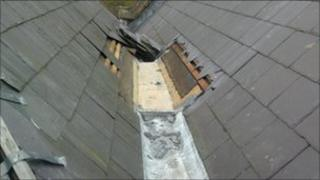 Damage to the roof of Great Malvern station