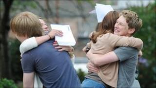 Students from Botham School, York, celebrate exam results