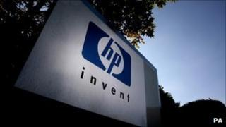 Hewlett Packard sign outside its UK headquarters