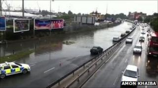 Flooding on Millbrook Road East in Southampton