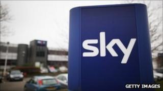 Sky logo outside of its office in west London