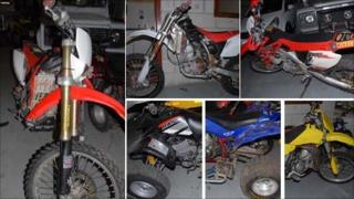 Compilation picture of the stolen vehicles