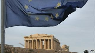 The European Union flag is seen waving above the Parthenon on Athen's Acropolis hill in 2005