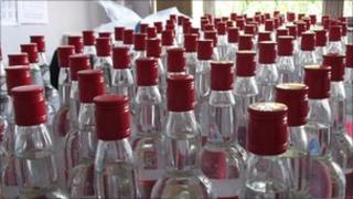 Confiscated vodka bottles