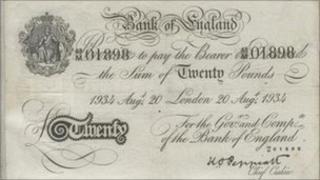 A counterfeit British banknote