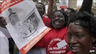 Women protest in Nairobi for greater parliamentary representation (archive shot)