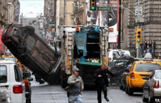 crash scene for film in Glasgow