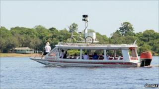 Google Street View trike on top of a boat on the Amazon river