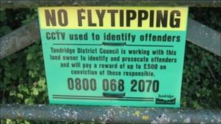 "Tandridge council ""No Flytipping"" sign"