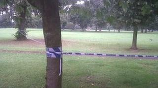 Crime scene at Llandaff Field