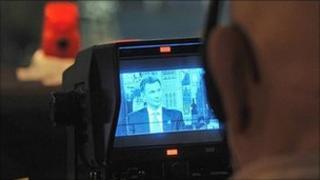 Jeremy Hunt on TV camera viewfinder